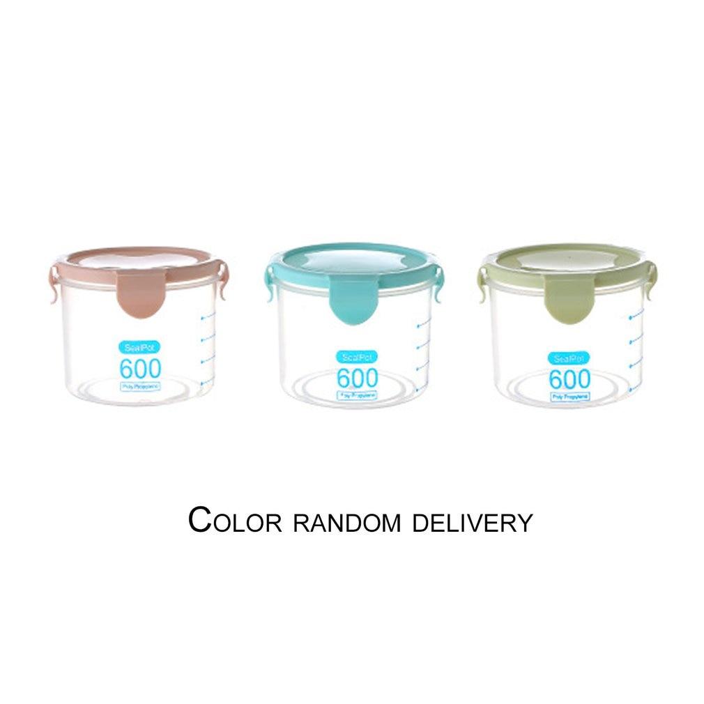 600ML Practical Household Plastic Storage Jars Food Storage Bottle Safe Non-Toxic Leakproof Sealed Kitchen Storage Box