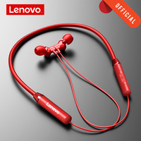 Lenovo-auriculares inalámbricos con Bluetooth 5,0, dispositivo de audio magnético con banda para el cuello, IPX5 impermeable, deportivo, con micrófono y cancelación de ruido