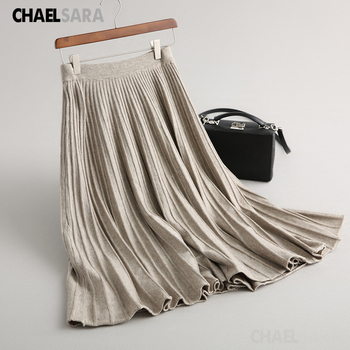 Spring Autumn Casual Pleated Knitted Skirt Women Elegant High Waist Office Lady A-Line Long Skirts spring vintage skirts 2019 new autumn floral women skirts elegant long sleeve high waist a line skirts