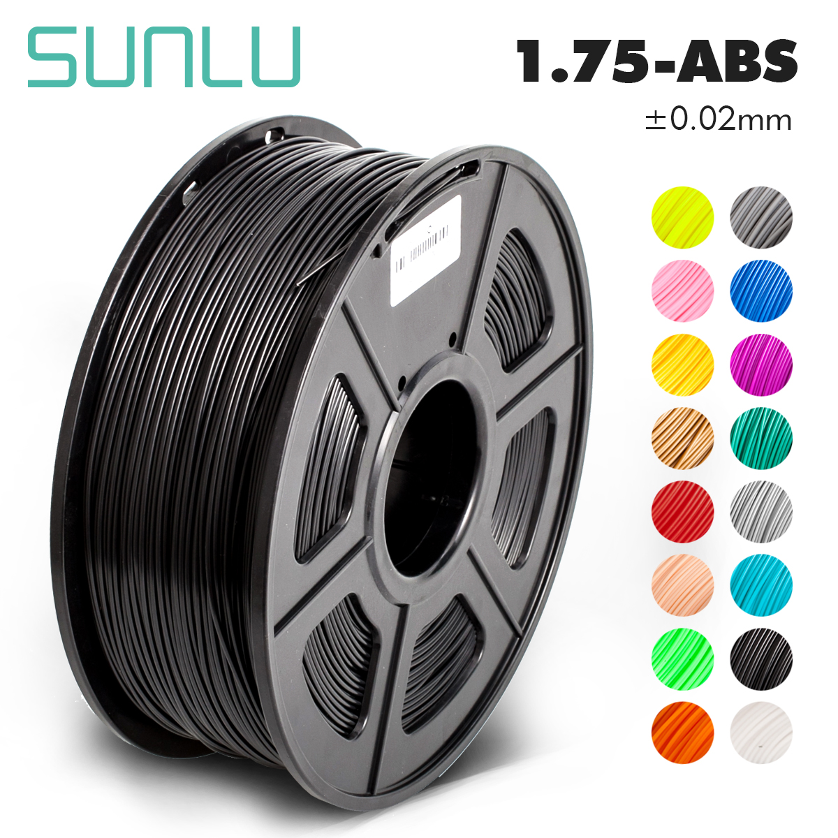 SUNLU ABS 3D Printer Filament ABS Filament 1.75 Mm 3D Printing Filament Low Odor Dimensional Accuracy +/- 0.02 Mm 2.2 LBS (1KG)
