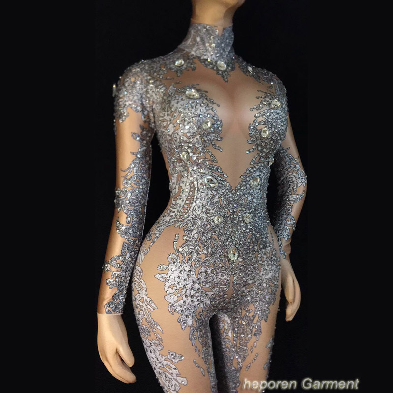 Female Dj Stage Suit  Sexy Diamond Decoration Color Nude Dancer Rhinestone Jumpsuit Beyonce Style Custom Made