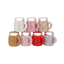 400ml Handmade Diamond Coffee Mug Shiny Ceramic Crystal Thermos Mug with Lid and Handle Lady Women Gift for Dropshipping