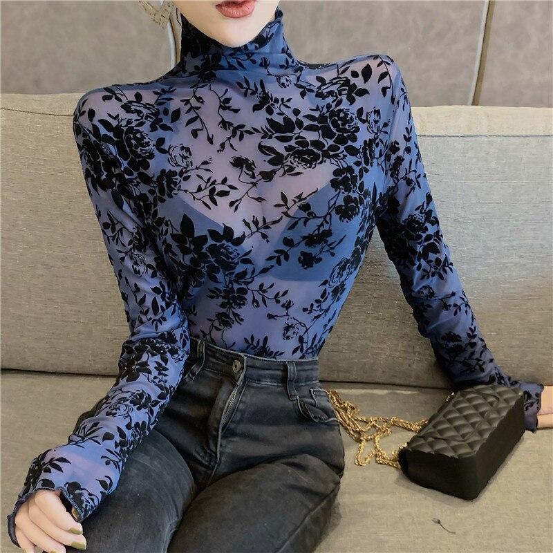 Женские прозрачные блузки из флока с сеткой, рубашки, женские футболки с высоким воротником, сексуальные блузки с длинными рукавами, топы дл...