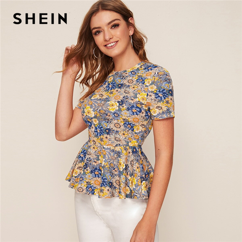 SHEIN Multicolor Floral Print Peplum Short Sleeve Top Women 2020 Summer Flared Ruffle Hem O-neck Womens Blouses and Tops(China)