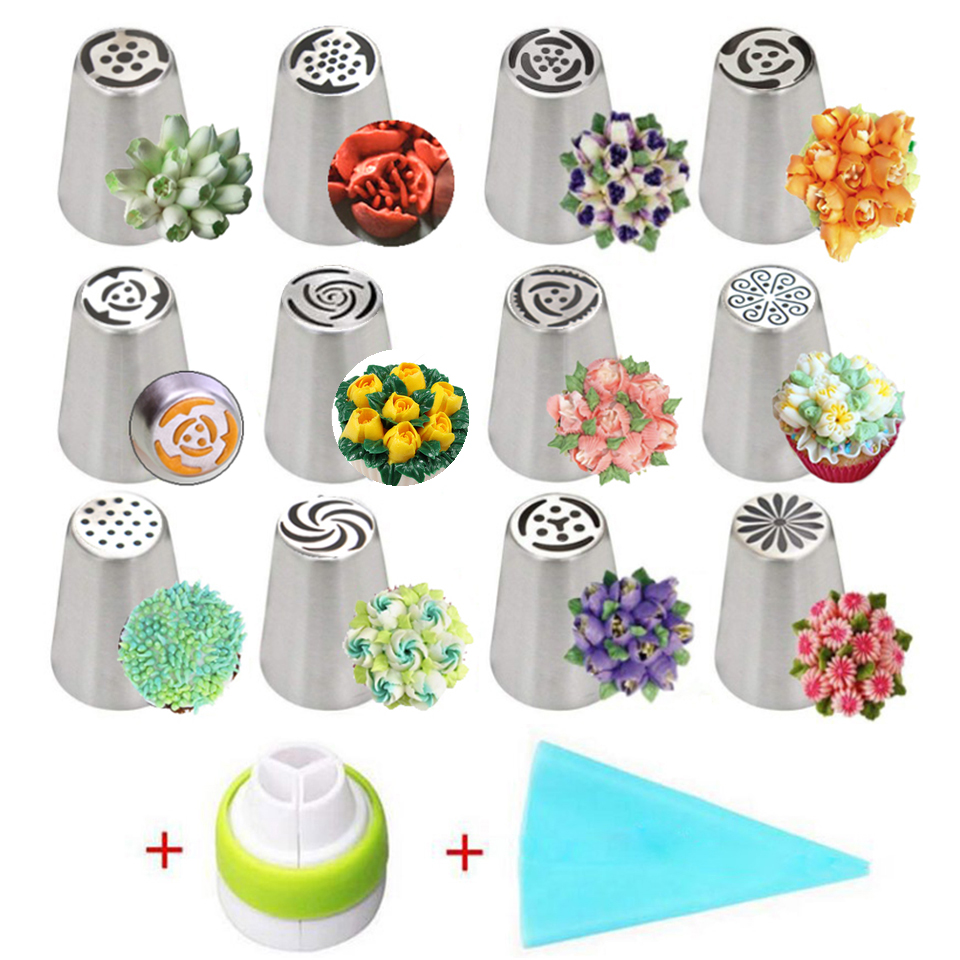 14pc Stainless Steel Russian Tulip Icing Piping Nozzles <font><b>Cake</b></font> <font><b>Decorating</b></font> Tips <font><b>Flower</b></font> Cream Pastry Nozzles Cream Bag Pastry <font><b>Tools</b></font> image