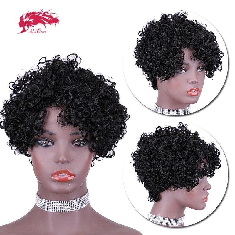 Ali rainha cabelo onda de água perucas curtas 150% densidade perucas de cabelo humano para as mulheres 6 Polegada completa máquina perucas frete grátis