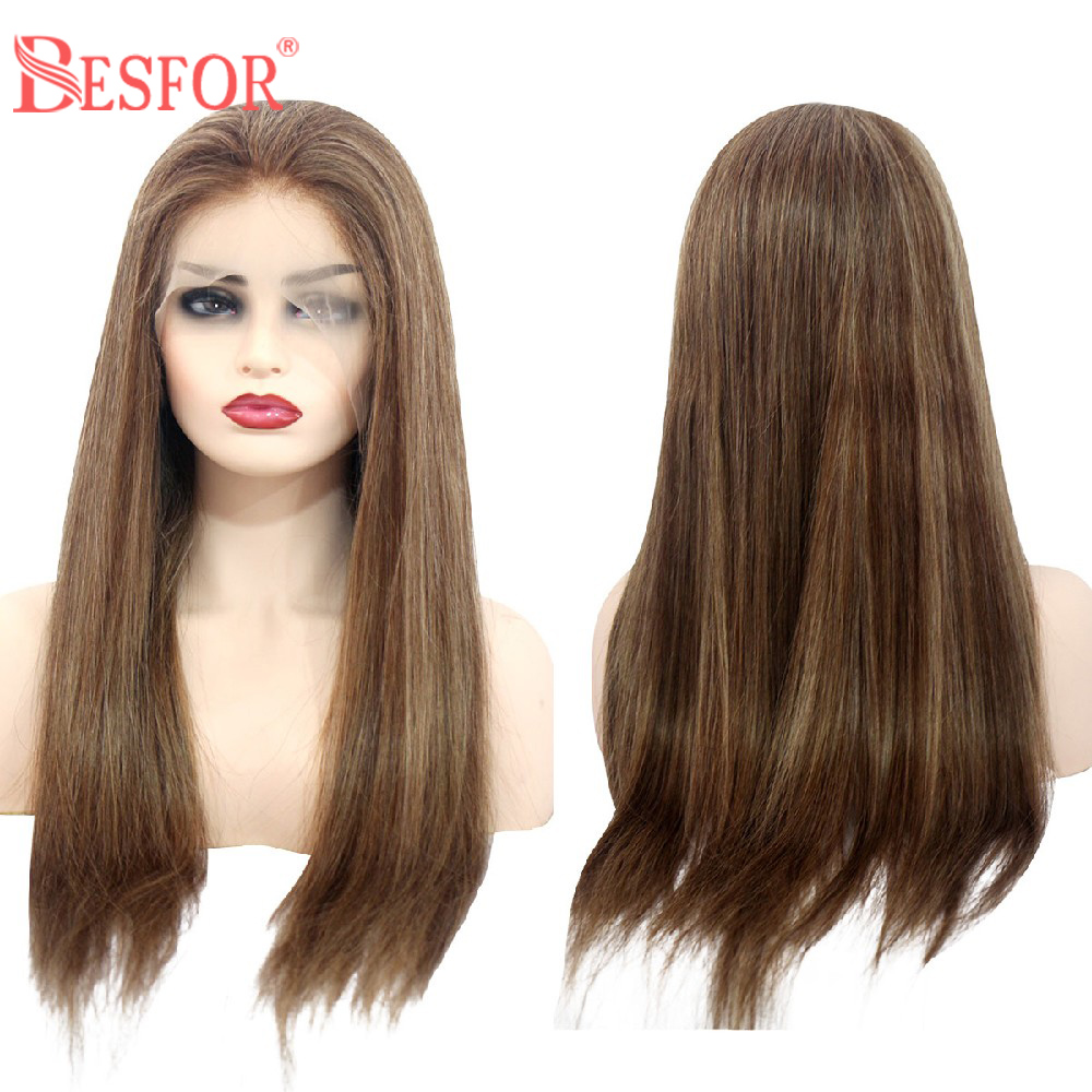 BESFOR Ombre 13*6 Lace Front Balayage Hair Wig Highlighted Long Straight Lace Wigs Free Parting Hair Replacement Human Hair Wigs