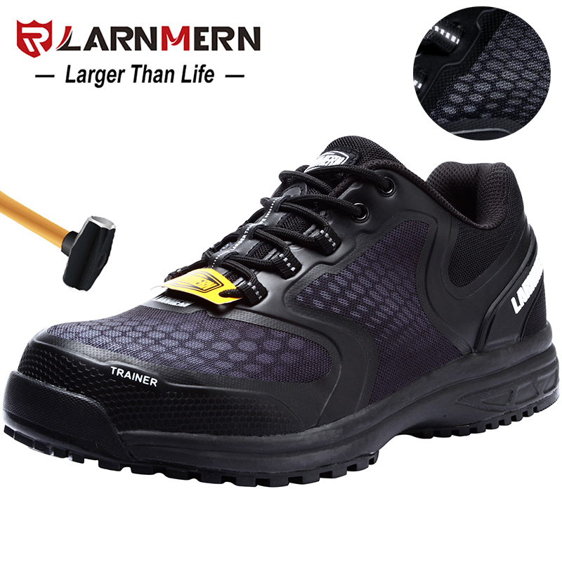 LARNMERN Men's Work Safety Shoes Steel Toe Breathable Anti-smashing Anti-puncture Non-slip Construction Protective Footwear