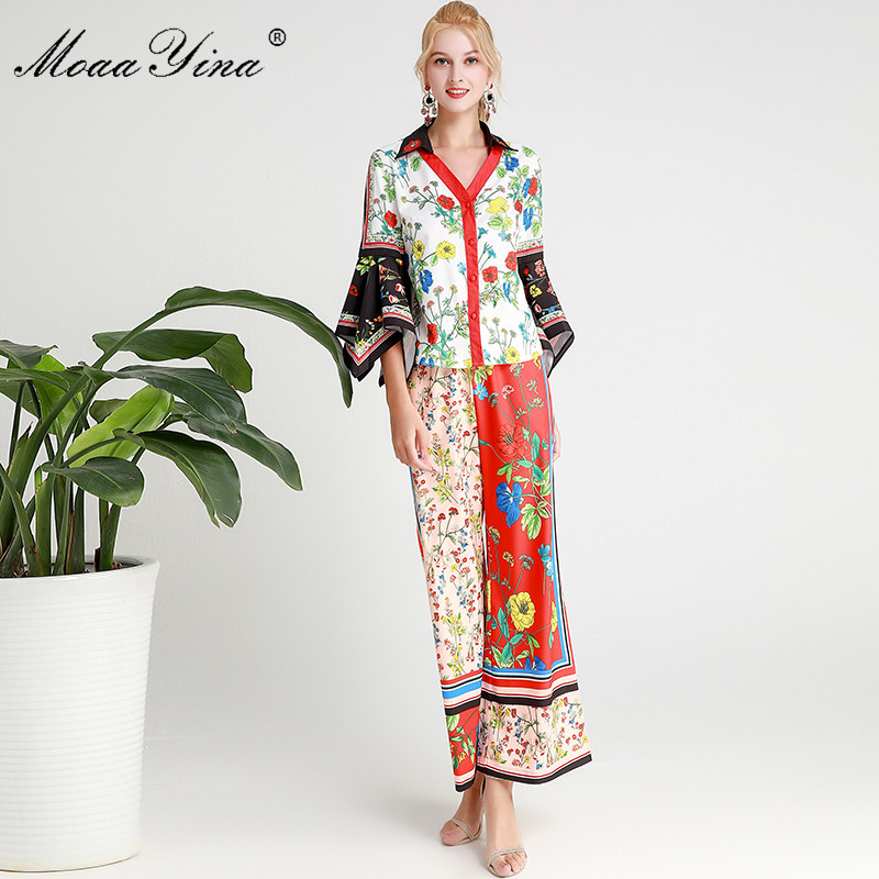 MoaaYina Fashion Designer Set Spring Autumn Women Flare Sleeve Floral-Print Tops+Trousers Two-piece suit