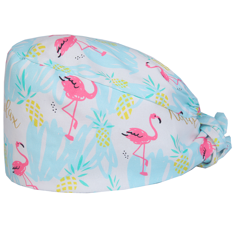 Flamingo Print Womens Surgical Cap For Nurse Doctor Dental Clinic Hospital Medical Scrub Hats With Sweatband Work Skull Caps