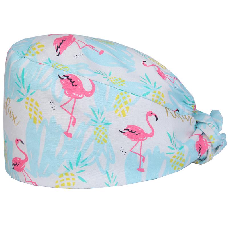 Flamingo Print Womens Surgical Cap For Nurse Doctor Dental Clinic Hospital Medical Scrub Hats With Sweatband Work Skull Caps