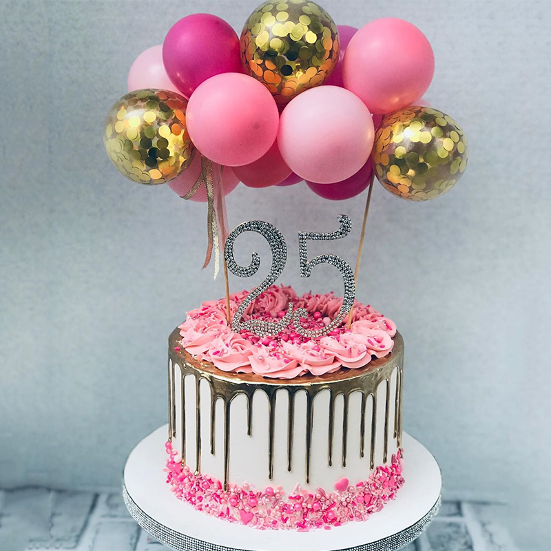 Enjoyable Best Promo Eovci Fancy Silver Gold Number Cake Toppers Balloon Funny Birthday Cards Online Inifofree Goldxyz
