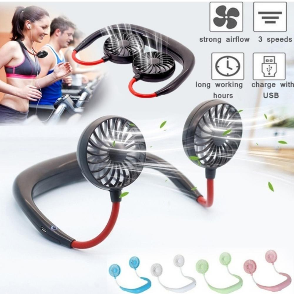USB Rechargeable Personal Fan Handsfree, Headphone Design Wearable Portable Neckband Mini Fan For Traveling Outdoor Indoor