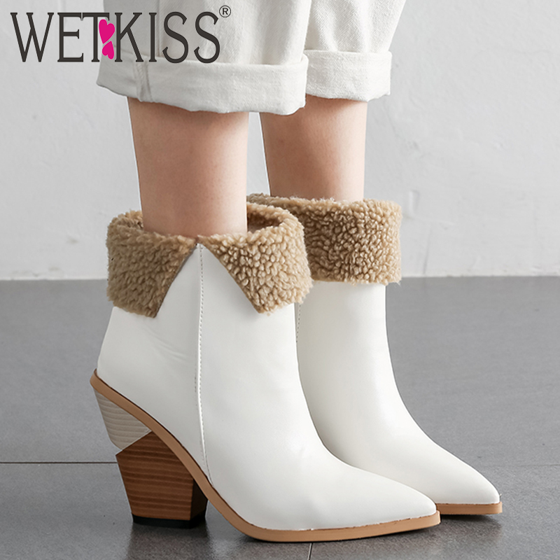 WETKISS High Heels Wood Boots Women Western Ankle Boot Female Pu Warm Shoes Ladies Pointed Toe Shoes Women Winter 2020