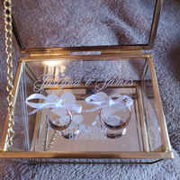 Wedding Ring Box Glass Custom Engagement Ring Box Personalized Name and Date on Plastic Board Ring Pillow Bridesmaid Gift Box