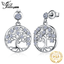 JewelryPalace Life Tree Created Spinel Dangle Drop Earrings 925 Sterling Silver For Women Korean Fashion Jewelry 2020