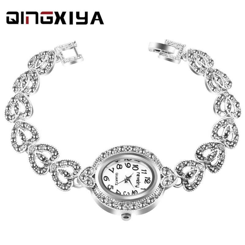 QINGXIYA Brand Retro Vintage Watch Women Antique Silver Color Gray Crystal Womens Watches Female Quartz Wristwatch Bracelet Cloc(China)