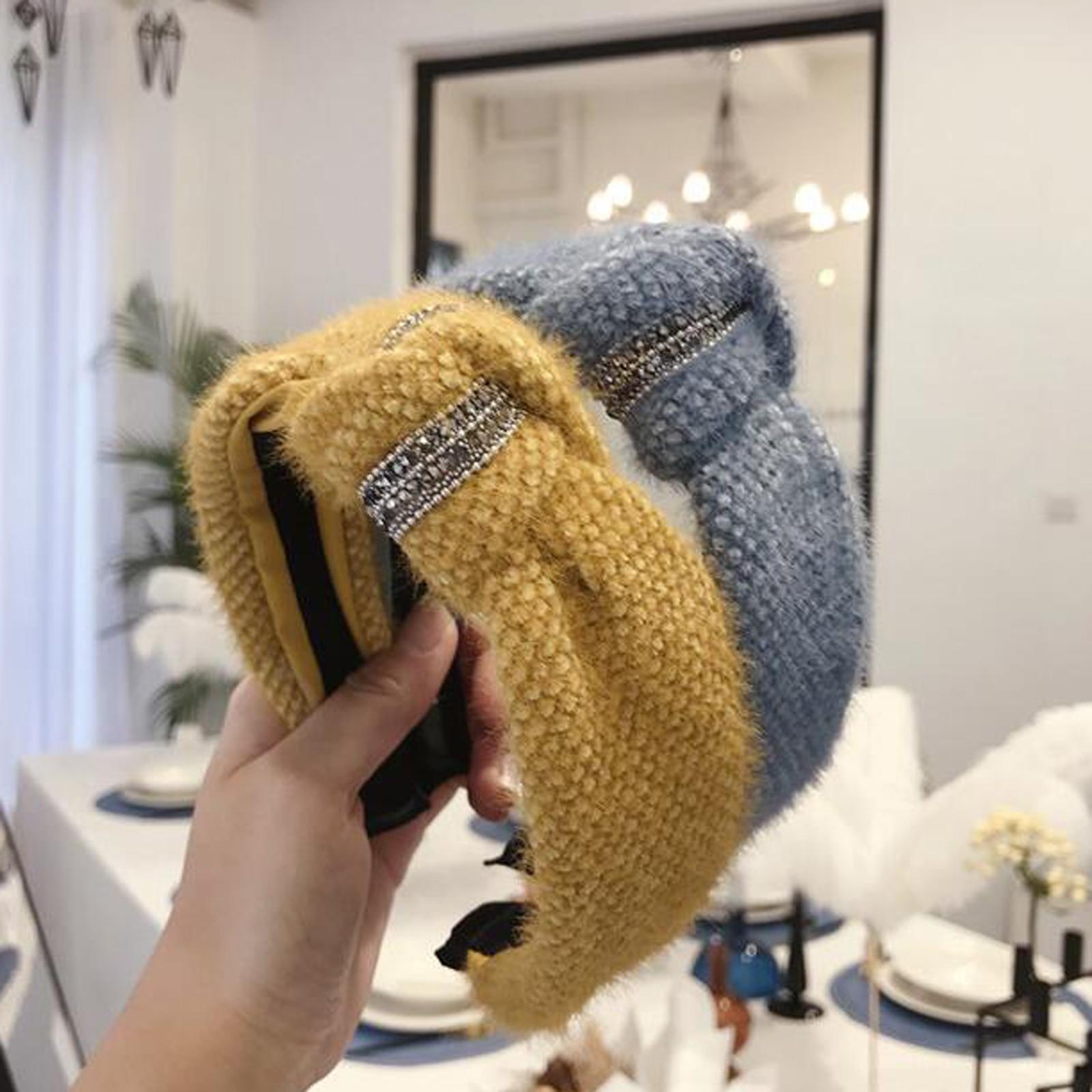 New Fashion Women Headband Winter Wide Side Knittd Hairband Shining Rhinestone Hair Band Adut Turban Hair Accessories