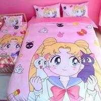 New Kawaii Sailor Moon Bedding Sets Cute Girl Kids Cotton Bedding Duvet Cover Bed Sheet Pillowcase Comforter Bedding Sets Pink