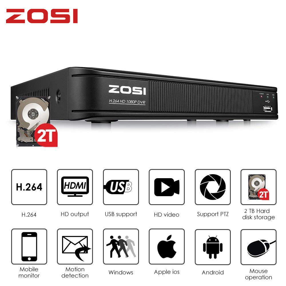 ZOSI 1080P 8 Channel TVI DVR 8CH AHD/CVI/TVI/Analog DVR 1920*1080 2MP CCTV Video Recorder Hybrid DVR 4 In 1 Security System-in Surveillance Video Recorder from Security & Protection