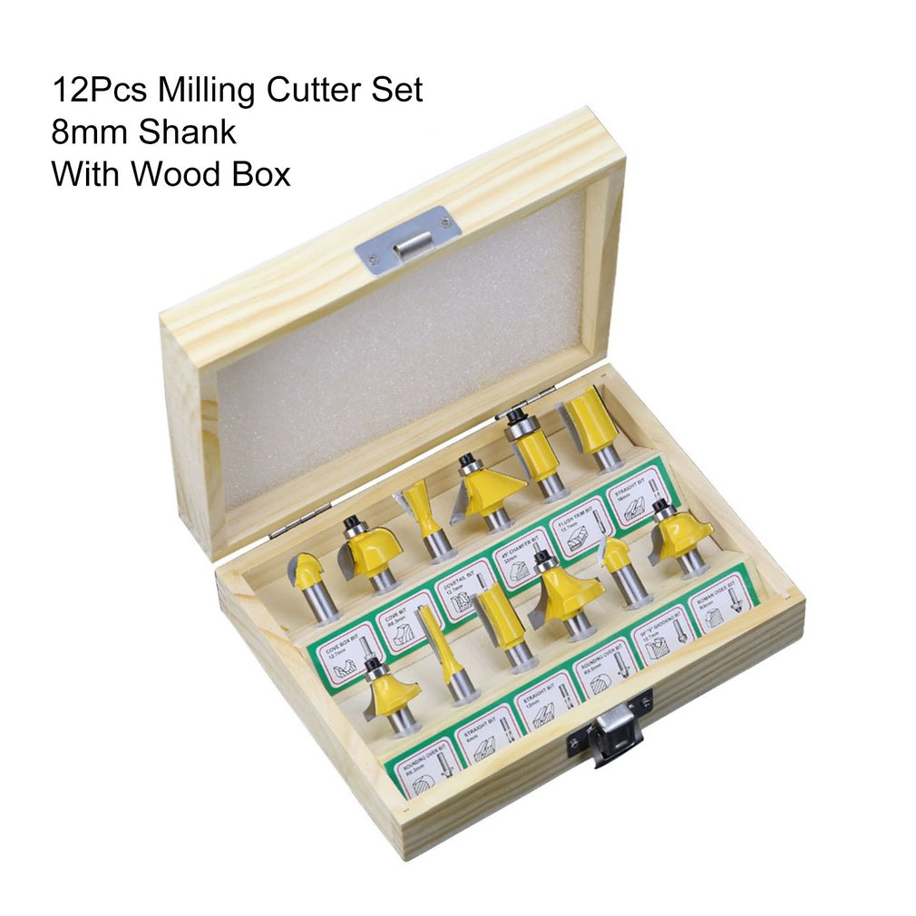 12Pcs/Set Milling Cutter Machine Tools Set Router Bit For Woodworking Cutters Carbide Shank Wood Trimming Engraving Tool