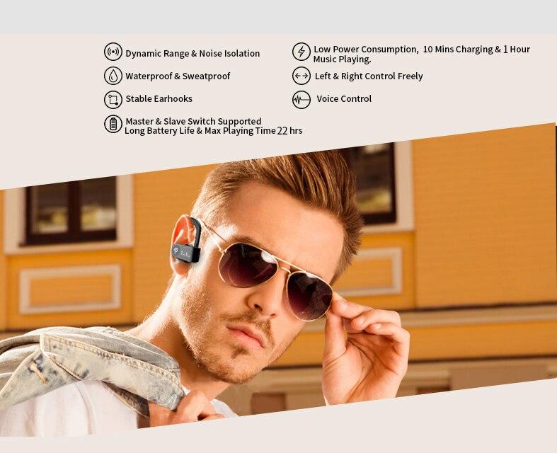 Sport Echte Draadloze Oordopjes Tws Draadloze Koptelefoon Bluetooth 5.0 Draadloze Hoofdtelefoon Bass Stereo Haak Oor Headset W/Opladen Doos 6