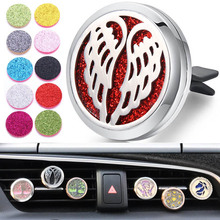 New Car Air Diffuser Locket Free Wing Stainless Steel Vent Freshener Essential Oil Perfume Aromatherapy Necklace