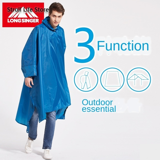 Outdoor Rain Poncho Hiking Raincoat Walking  with Sleeves Floor Cloth Rain Coat Thicken Riding Mountaineering Rain Gear Gift 1