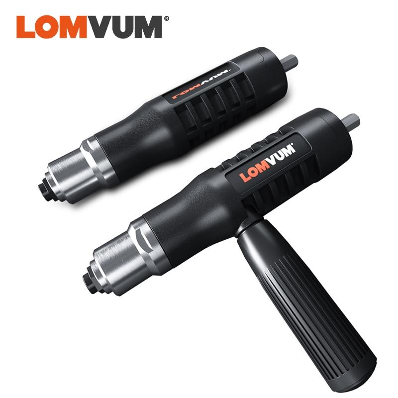 LOMVUM Riveter Adapter Metal Cordless Riveting Connector Adaptor Insert For Electric Drill Riveter Gun Nail Gun Riveting Tools