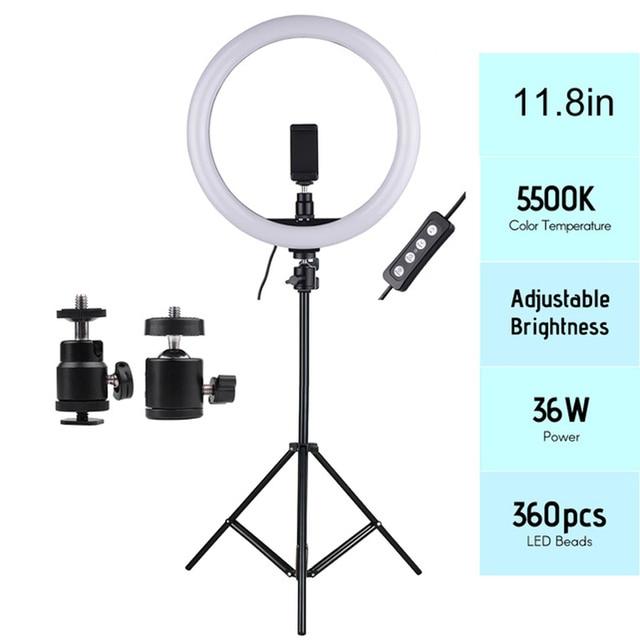 11.8in 2700 5500K 24W 180Pcs Led Video Ring Licht Fill In Lamp Dimbare + Telefoon houder 2 Stuks Bal Koppen Voor Fotografie Verlichting