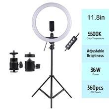 11.8in 2700 5500K 24W 180pcs LED וידאו טבעת אור למלא מנורת Dimmable + טלפון מחזיק 2pcs כדור ראשי עבור צילום תאורה