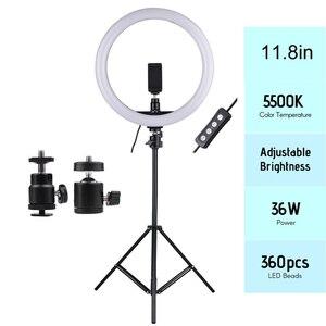 Image 1 - 2700 дюйма 5500 180 K 24 Вт шт. светодиодное кольцо для видеосъемки заполняющая лампа с регулируемой яркостью + держатель для телефона 2 шт. шариковых головки для освещения фотографии