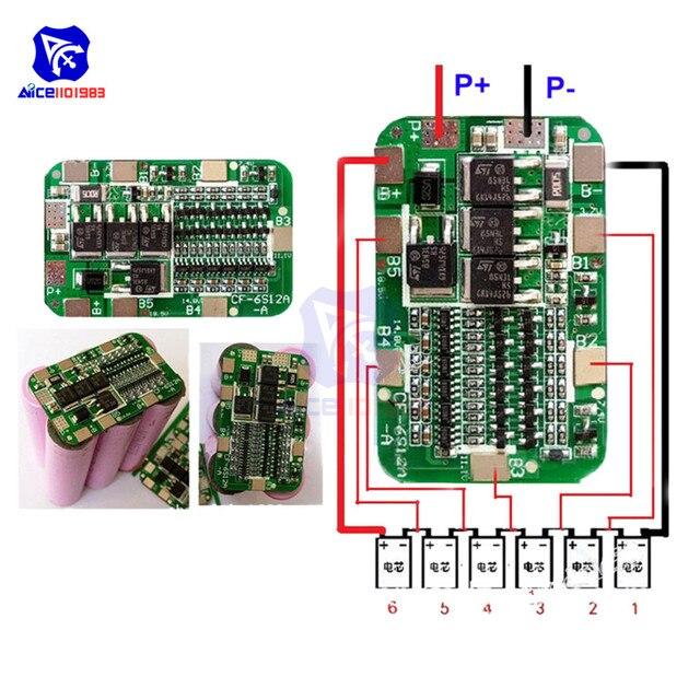 Diymore 6S 15A 24V PCB BMS Bordo di Protezione Per 6 Pack 18650 Li Ion Cellula di Batteria Al Litio Modulo