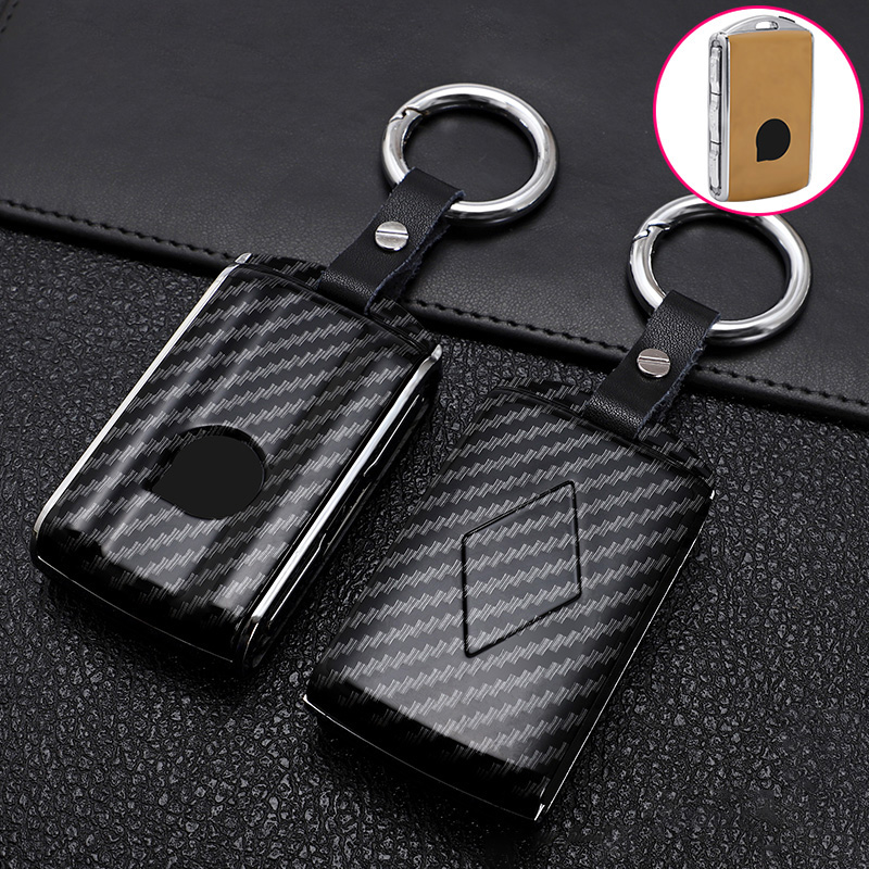 ABS Carbon Fiber Car Remote Key Case Cover For Volvo XC40 XC60 XC90 S90 V90 T5 T6 Auto Smart Key Protection Holder Accessories