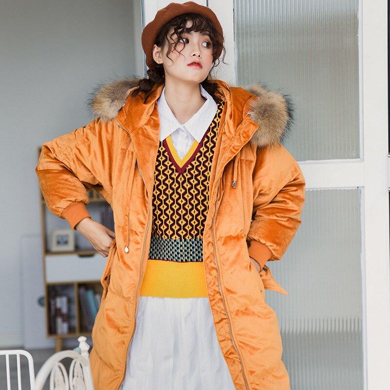 White Duck Down Jacket Women Big Fur Collar Winter Coat Women Down Coat Puffer Jacket Warm Park Vest Femme Y1463