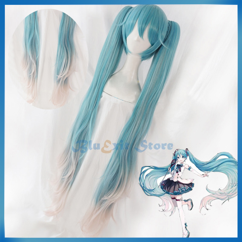 Vocaloid Hatsune Miku Green Long Wavy Synthetic Cosplay Wig Double Ponytails