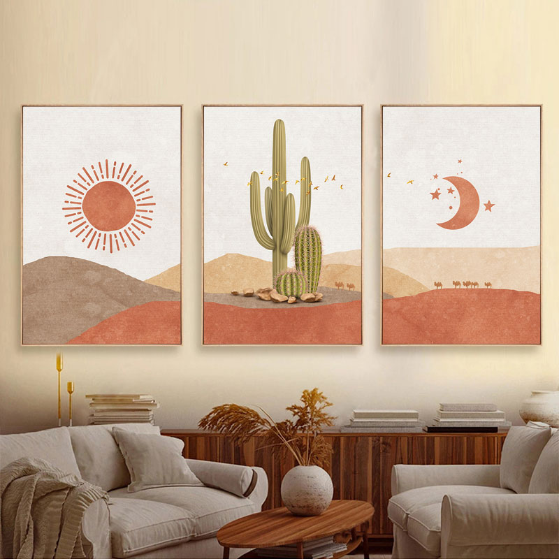 Abstract Landscape Sun and Moon Scene Boho Canvas Prints Cactus Wall Art Nordic Desert Wall Picture for Living Room Home Decor