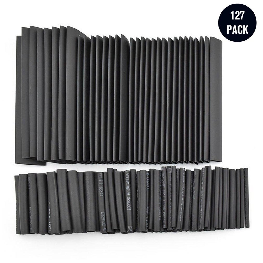 127Pcs Black Glue Weatherproof Heat Shrink Sleeving Tubing Tube Assortment Kit Car Cable Sleeving Assortment Wrap Wire Kit