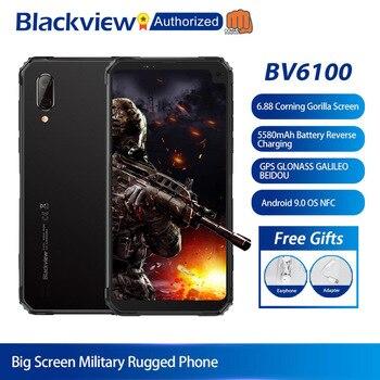 Перейти на Алиэкспресс и купить Blackview BV6100 Android 9,0 мобильный телефон 6,8 дюймсмартфон с большим экраном IP68 Водонепроницаемый MT6761 Восьмиядерный 3 ГБ + 16 Гб аккумулятор 5580 мАч