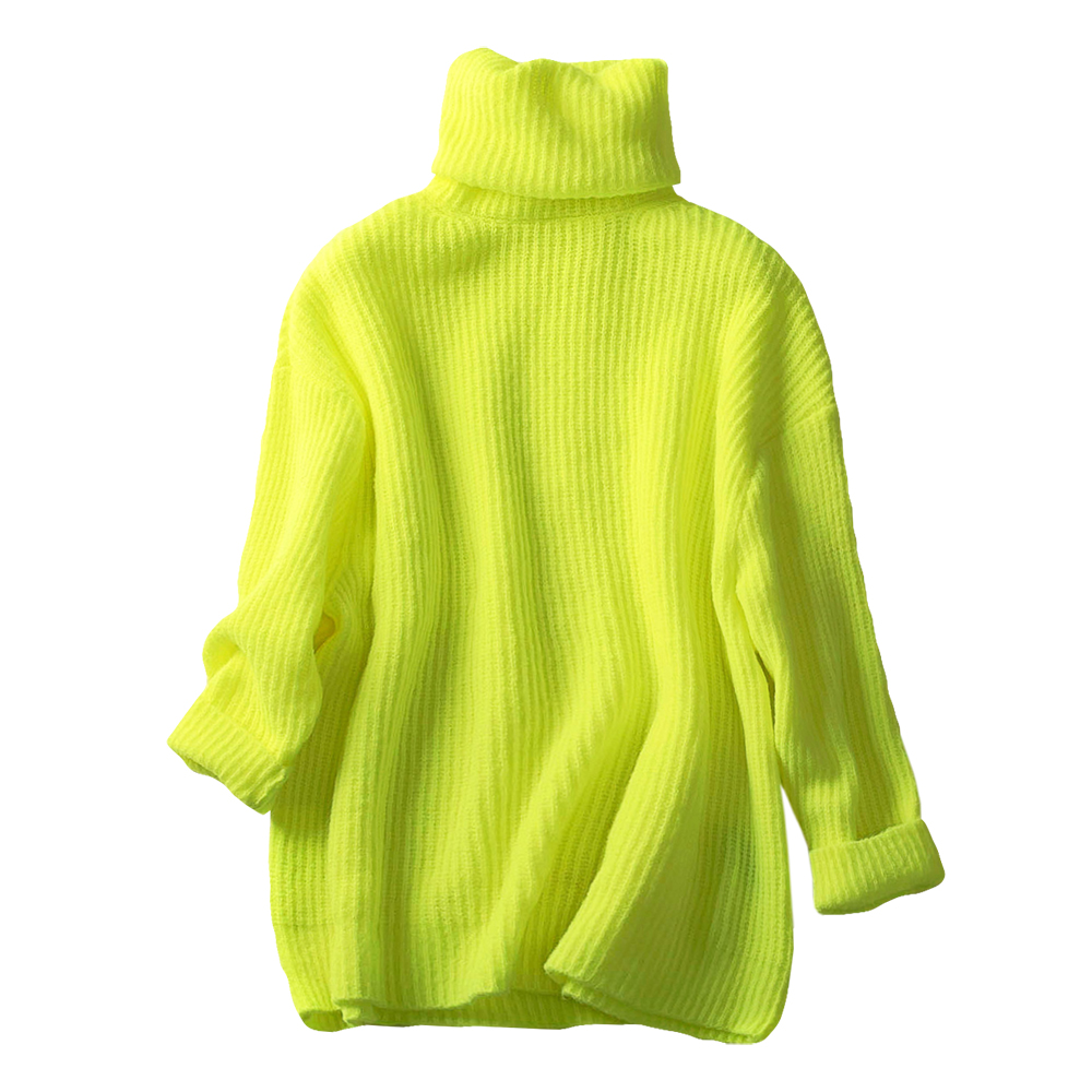 Good Quality Neon Color Turtleneck Warm Sweater Women Thicken Deep Autumn Solid Loose Knitted Fall  Pull Pullover Woman Sweaters