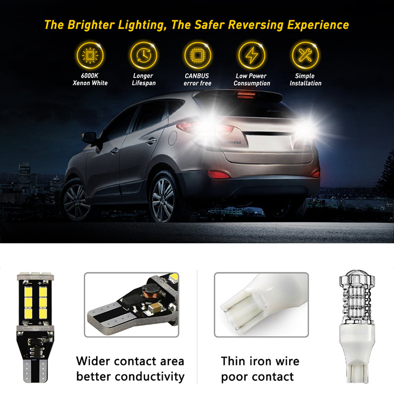 Super Bright White LED Reverse Light Canbus Error Free 912 T15 15 SMD W16W Backup Bulb 1200LM Lighting Back Up Lamp