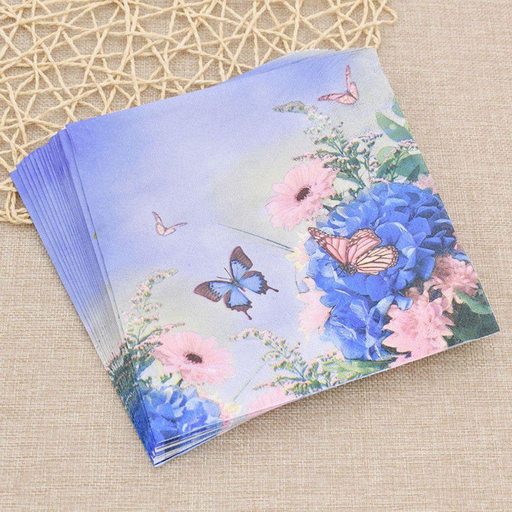20 Purple Flower Blue Butterfly Handkerchief Decoupage Vintage Napkin Paper Tissue Wedding Birthday Party X-mas Serviettes Decor