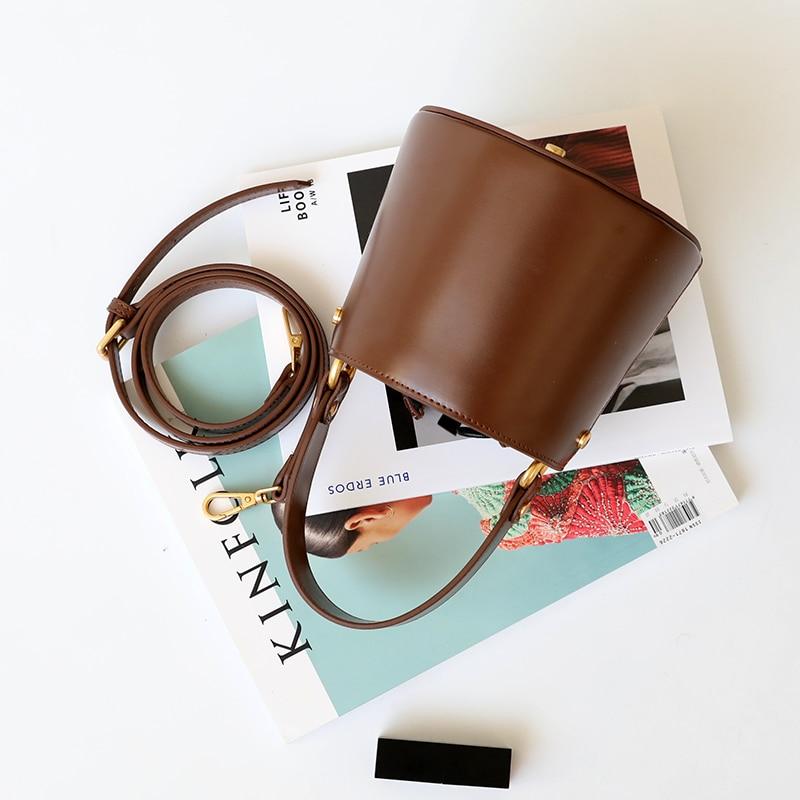 Burminsa Mini Bucket Genuine Leather Crossbody Bags For Women Unique Designer Handbags Luxury Phone Ladies Shoulder