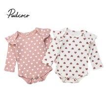 Pudcoco/весенне-осенняя одежда для новорожденных; одежда в рубчик для маленьких девочек и мальчиков; комбинезон с оборками и сердечками; боди с длинными рукавами