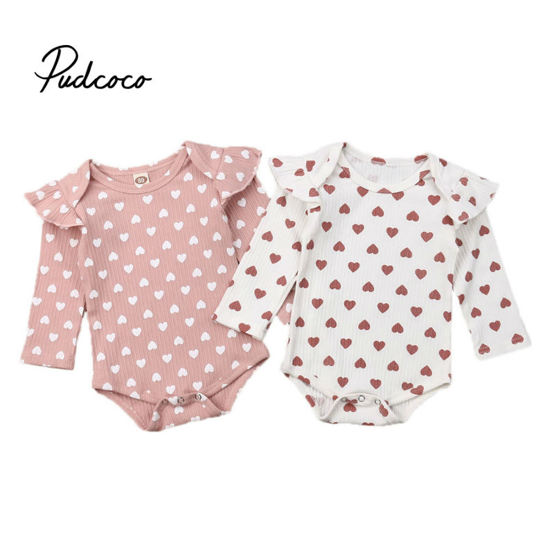 Pudcoco Spring Autumn Clothing Newborn Kids Baby Girls Boy Ribbed Clothes Ruffle Hearts Jumpsuit Fly Long Sleeve Bodysuit Outfit