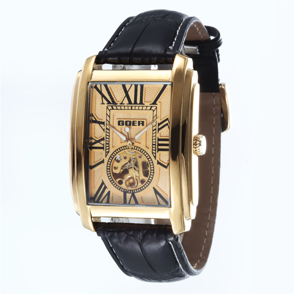 GOER Luxury Men Watches Fashion Rectangle Dial Skeleton Watches Men Leather Band Automatic Mechanical Watches Relogio Masculino