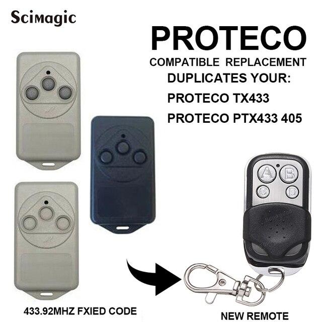 For PROTECO TX433 PTX433 405 PTX433 AZUL 433.92MHz remote control PROTECO transmitter clone gate Garage door opener