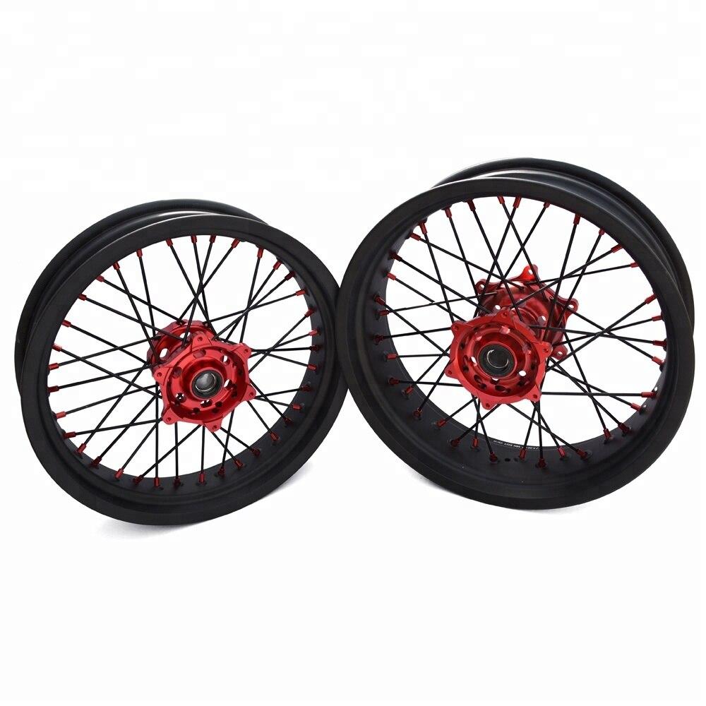 Super Motard-llanta negra de 17 pulgadas, ruedas de cubo rojo CRF250l