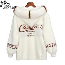 Autumn Sweater Short-Cardigan Women Jacket Coat Fur-Collar Knitted Fashion Hooded UHYTGF