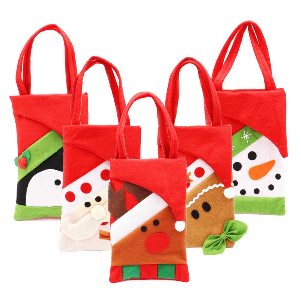 2 stücke Santa Weihnachten Geschenk Tasche Candy Tragbare Tasche Weihnachten Dekorationen für Home Noel Neue Jahr 2020 Präsentiert 22X15cm